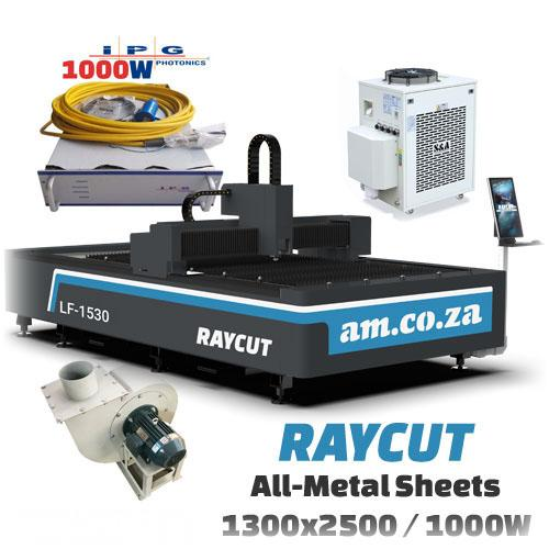RAYCUT Fiber Laser All-Metal IPG-1000W 15303050mm Flatbed Cutter, IPG-Photonics 1000W Fiber Laser Source, complete with 2100W Chiller & Extraction Fan Set (LF-1530/1000P) R1175286.31 excl.