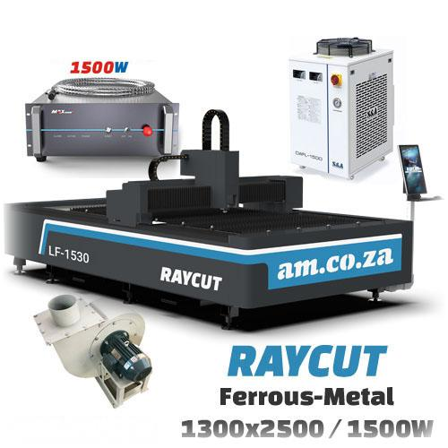 RAYCUT Fiber Laser Ferrous-Metal MAX-1500W 15303050mm Flatbed Cutter with Max-Photonics 1500W Fiber Laser Source, complete with 2800W Chiller & Extraction Fan Set (LF-1530/1500) R890149.79 excl.