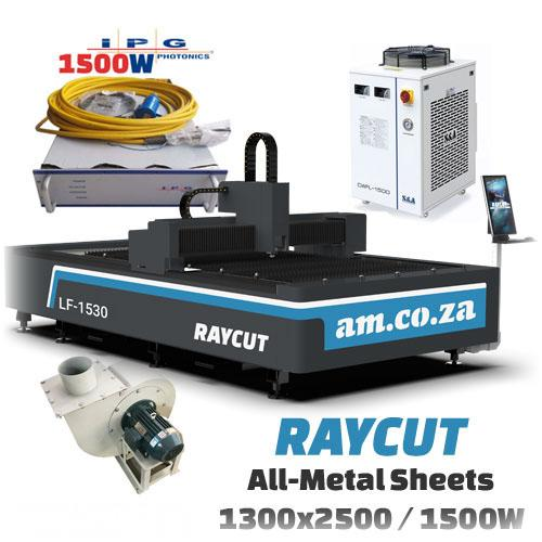 RAYCUT Fiber Laser All-Metal IPG-1500W 15303050mm Flatbed Cutter, IPG-Photonics 1500W Fiber Laser Source, complete with 2800W Chiller & Extraction Fan Set (LF-1530/1500P) R1217892.86 excl.