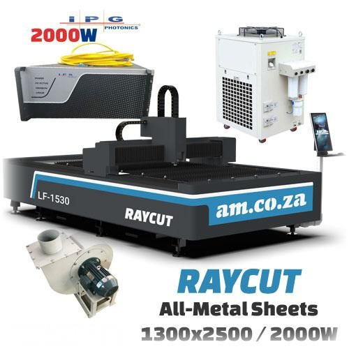 RAYCUT Fiber Laser All-Metal IPG-2000W 15303050mm Flatbed Cutter, IPG-Photonics 2000W Fiber Laser Source, complete with 3200W Chiller & Extraction Fan Set (LF-1530/2000P) R1516138.77 excl.