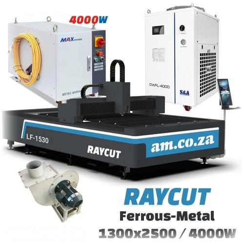 RAYCUT Fiber Laser Ferrous-Metal MAX-4000W 15303050mm Flatbed Cutter with Max-Photonics 4000W Fiber Laser Source, complete with 4800W Chiller & Extraction Fan Set (LF-1530/4000) R1748835.8 excl.